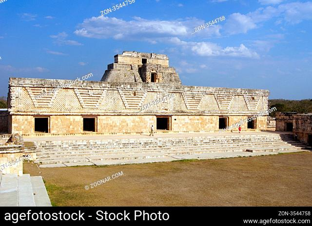 Temple, square and pyramid in Uxmal, Mexico