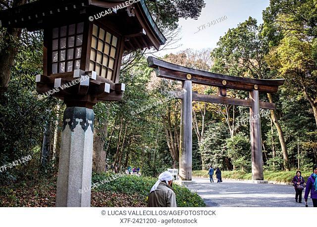 Torii Gate, in Meiji Jingu Shinto Shrine. Yoyogi Park. Tokyo. Japan