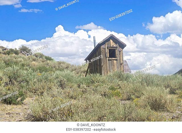 A small miner's shack sits near the gold fields in Bodie, CA