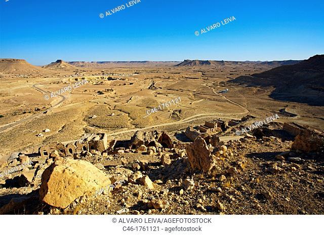 Douiret Berber village, Tataounie area, ksour's road, South Tunisia, Tunisia