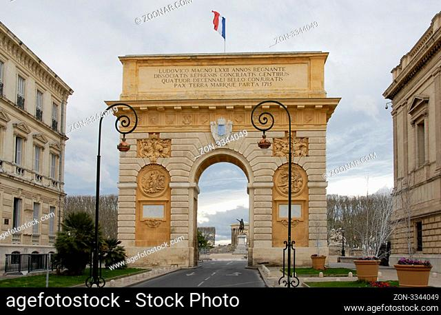 Arc de Triomphe, Montpellier, France. Built in 1692 by Charles-Augustin Daviler to the glory of Louis XIV