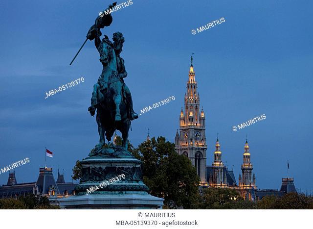 Europe, Austria, Vienna, city hall, equestrian statue Archduke Charles