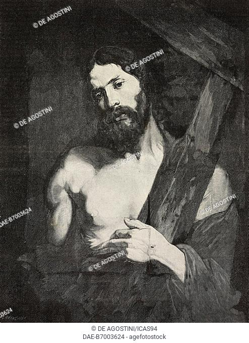 Christ carrying the cross, oil on canvas by Anthony van Dyck, Genoa, Italy, engraving by G Cantagalli after a photo by Noack, from L'Illustrazione Italiana