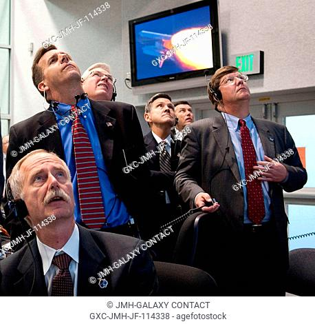 NASA mission managers monitor the launch of the Space Shuttle Atlantis from Firing Room 4 of NASA's Kennedy Space Center on Nov. 16, 2009