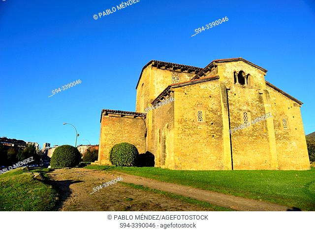 Pre-Romanesque church of San Julian de los Prados in surroundings of Oviedo, Asturias, Spain