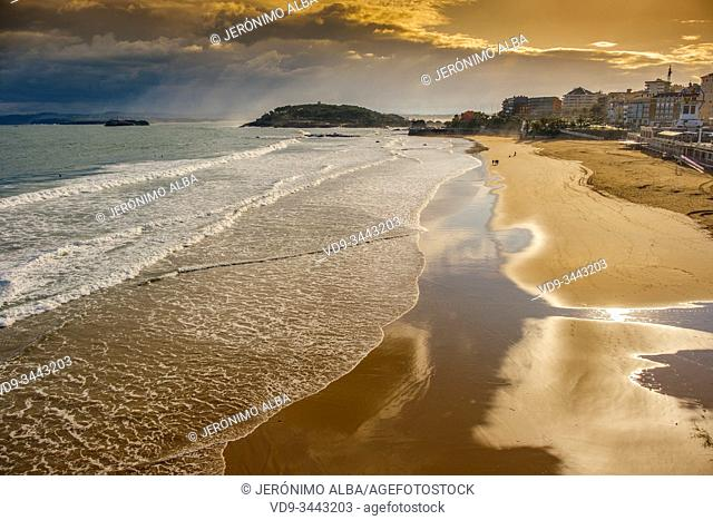 Panoramic view at sunset of Sardinero beach on a winter day, Cantabrian Sea Santander. Cantabria Spain. Europe