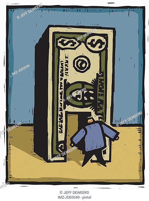 A man walking through a dollar bill