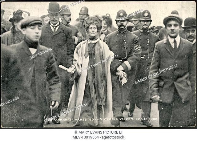 Mrs Pankhurst arrested in Victoria Street