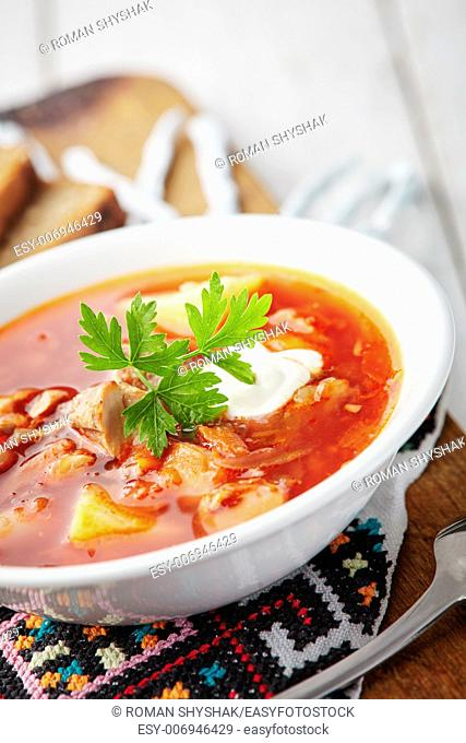 Ukrainian national red soup borsch with meat