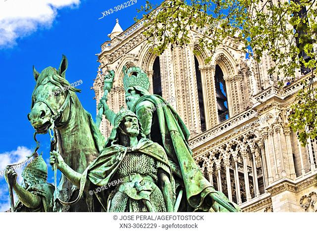 Our Lady of Paris, Notre Dame Cathedral, Equestrian statue Charlemagne et ses Leudes, often translated as Charlemagne and His Guards, Place du Parvis Square
