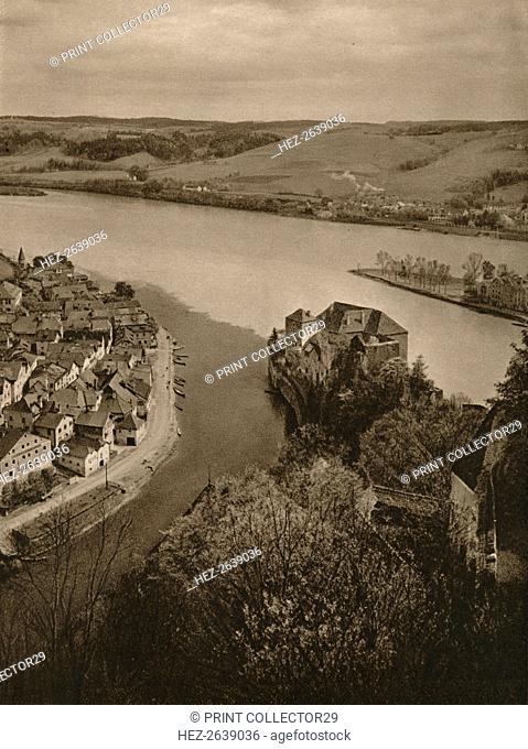 'View from the Oberhaus to the Niederhaus and the junction of the Inn, Danube and Ilz', 1931. Artist: Kurt Hielscher