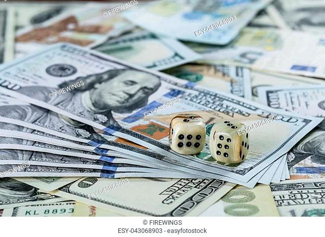 Two dices and many cash, happy winning gamble, lucky in casino