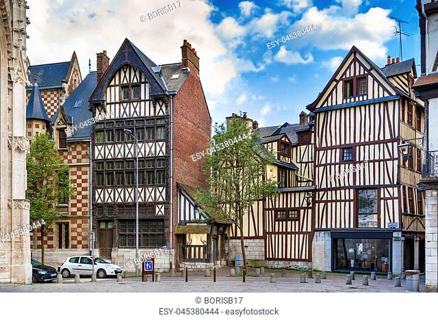 Street in historical center of Rouen with half-timbered houses, France