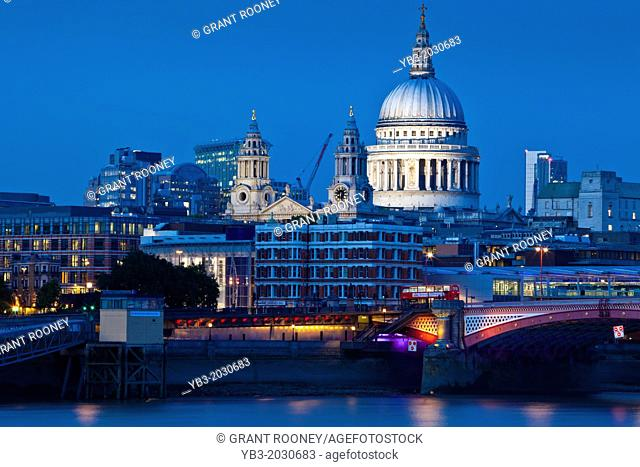 St Paul's Cathedral and River Thames, London, England