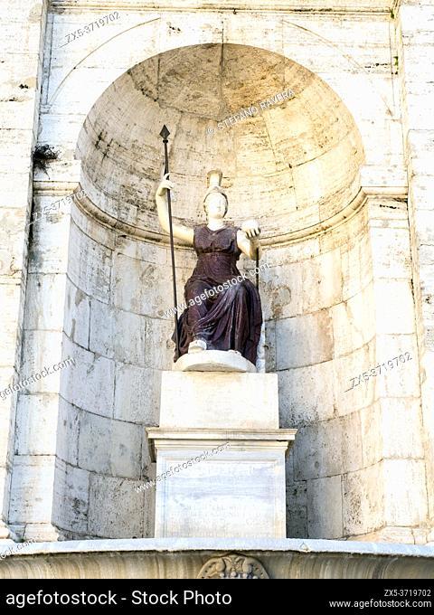 Statue of the goddess Rome (Dea Roma) in Campidoglio square - Rome, Italy