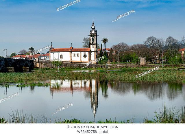 Santo Antonio da Torre Velha church with roman bridge in Ponte de Lima town, Portugal