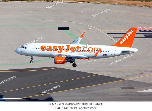 Palma de Mallorca, Spain - May 11, 2018: EasyJet Europe Airbus A320 airplane at Palma de Mallorca Airport (PMI) in Spain. | usage worldwide