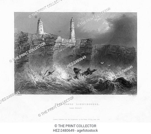 Ness Sands Lighthouses, near Bristol, Gloucestershire, 1841