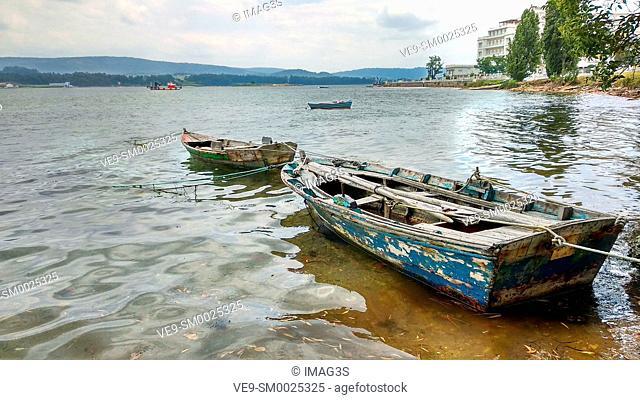 Ancient boat in the shore of La Toja Island, Pontevedra province, Galicia, Spain