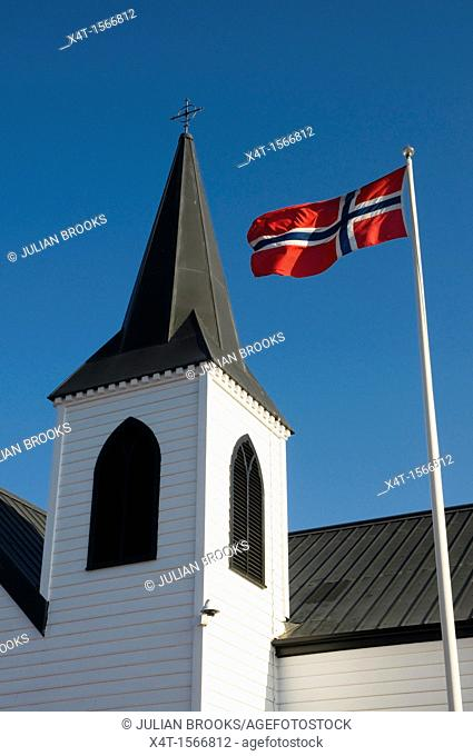 The Norwegian flag and the Norwegian church, Cardiff Bay, Wales