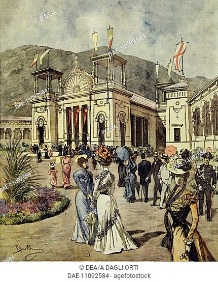 The renewed National Electrical and Silk Products Exhibition in Como. Illustrator Achille Beltrame (1871-1945), from La Domenica del Corriere, 27th August 1899