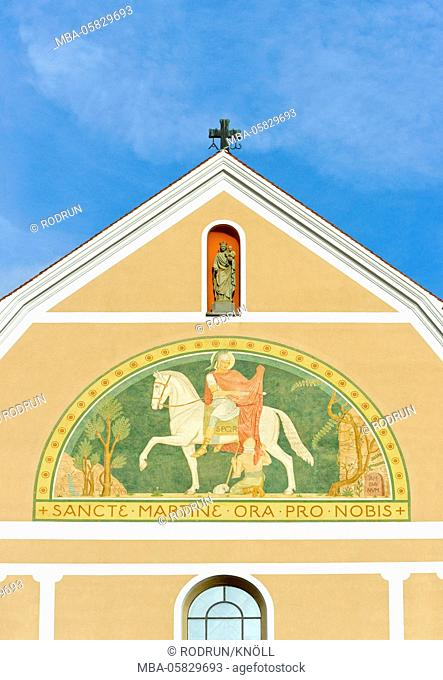 Germany, Baden-Wurttemberg, Beuron, St. Martin, painting in the west pediment of the minster