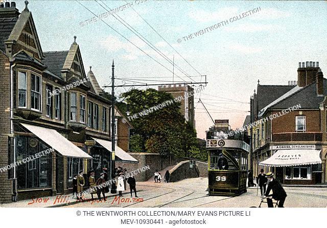 Stow Hill, Newport, near Cardiff, Glamorgan, Wales. Showing Tram Car