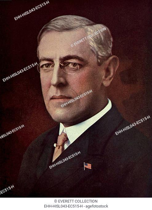 President Woodrow Wilson, head and shoulders portrait, 1919 color photo-gravure (BSLOC-2016-11-13)