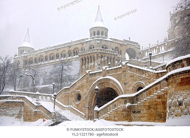 Fisherman's Bastion in the winter snow  Castle district Budapest stock photos