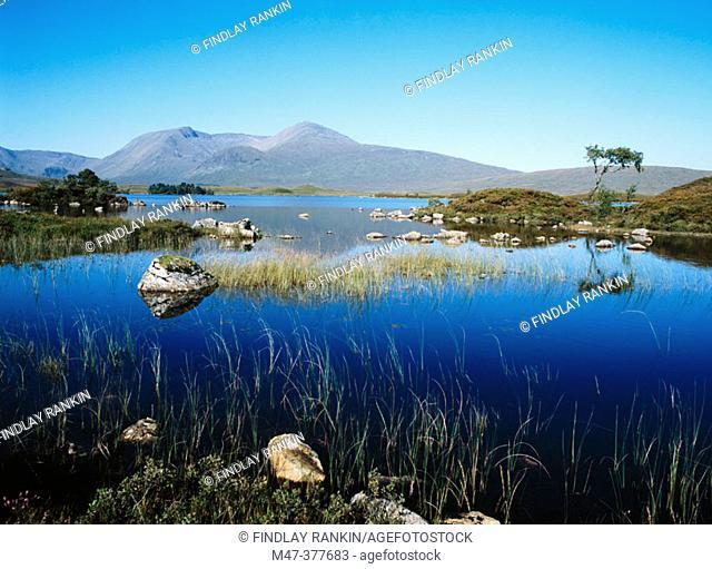 Rannoch Moor. Black mount, Lochan na h-Achaise. Highlands. Scotland