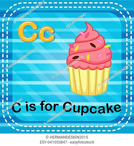 illustration of Flashcard letter C is for cupcake