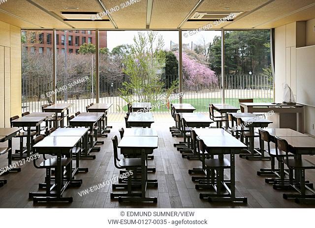 Teikyo University Elementary School, Tokyo, Japan. Architect: Kengo Kuma, 2012. Interior View-typical classroom on ground floor
