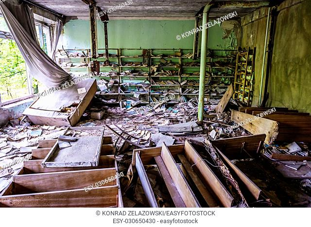 Library of High school No 2 in Pripyat ghost city of Chernobyl Nuclear Power Plant Zone of Alienation around nuclear reactor disaster in Ukraine