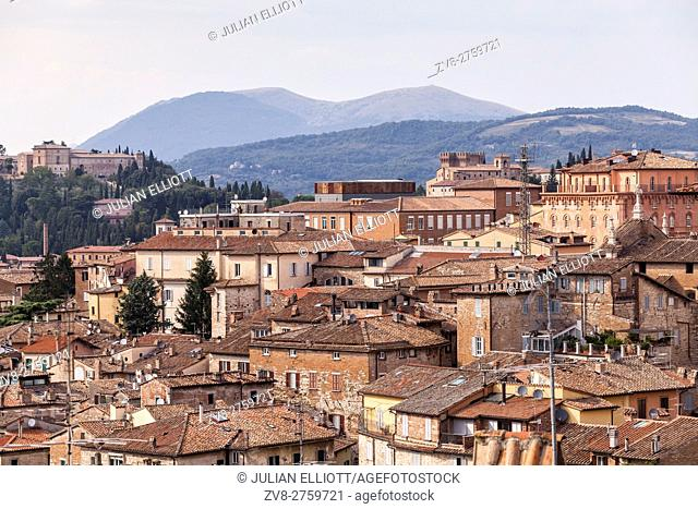 The rooftops of Perugia's historic centre