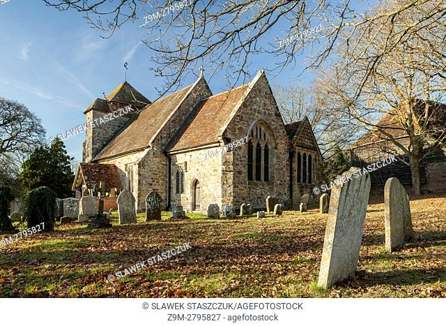 Autumn afternoon at the historic church in Penhurst, East Sussex, England
