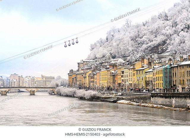 France, Isere, Grenoble, Saint Laurent district on the right bank of Isere river, Grenoble-Bastille cable car and its Bubbles