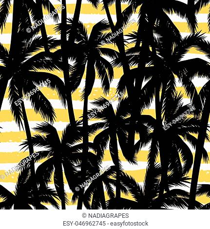 Trendy seamless exotic pattern with palm, hand texture and geometric elements. Vector illustration
