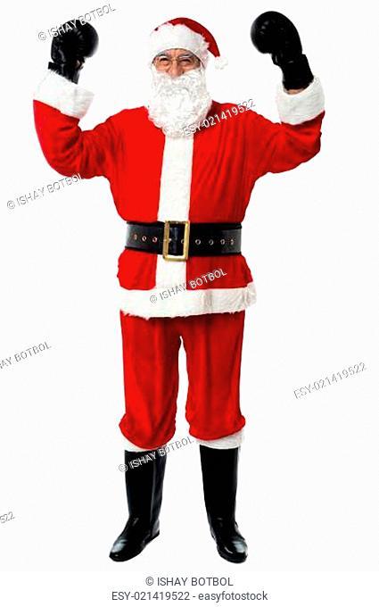 Santa - The boxer, celebrating his victory