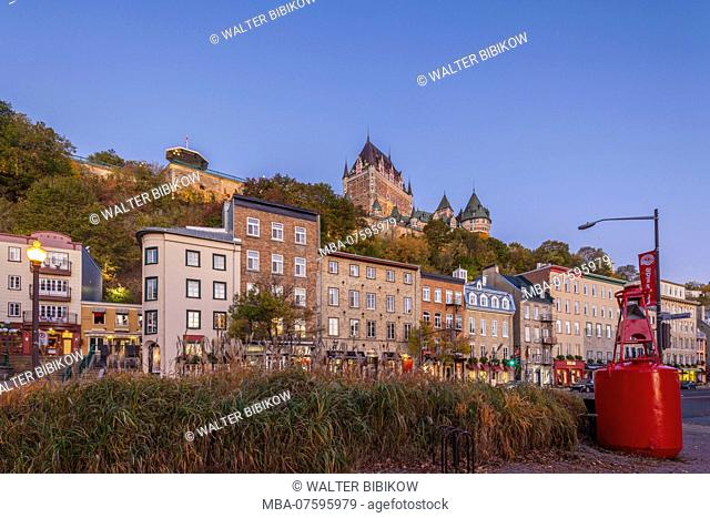 Canada, Quebec, Quebec City, Chateau Frontenac Hotel and buildings along Boulevard Champlain, dawn
