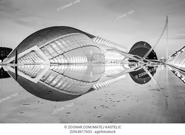 City of the Arts and Sciences in Valencia, Spain. Black and white image