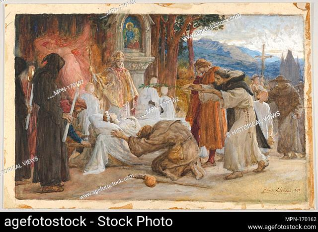 The Redemption of Tannhäuser (recto); Figure sketches (verso). Artist: Sir Frank Dicksee (British, London 1853-1928 London); Date: 1892; Medium: Watercolor...