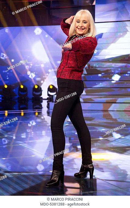 The showgirl Raffaella Carrà (Raffaella Roberta Pelloni) in the studios of the talent show Forte forte forte. Rome, Italy. 18th June 2015