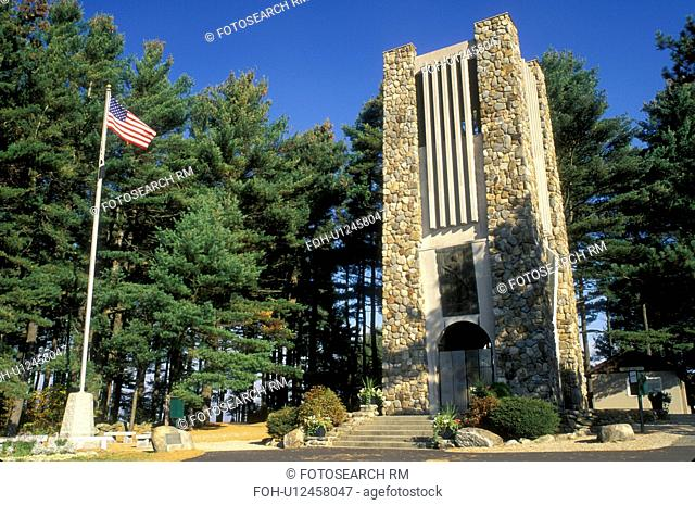 bell tower, Rindge, New Hampshire, NH, Memorial Bell Tower at Cathedral of the Pines in the autumn