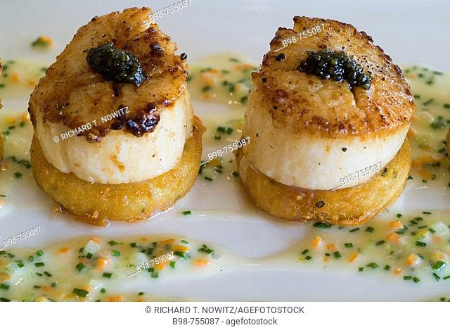San Jose, California, Arcadia Restaurant in the Marriott Hotel, sea scallops and caviar