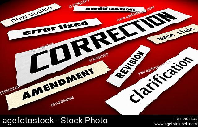 Correction News Headlines Error Fixed New Information 3d Illustration
