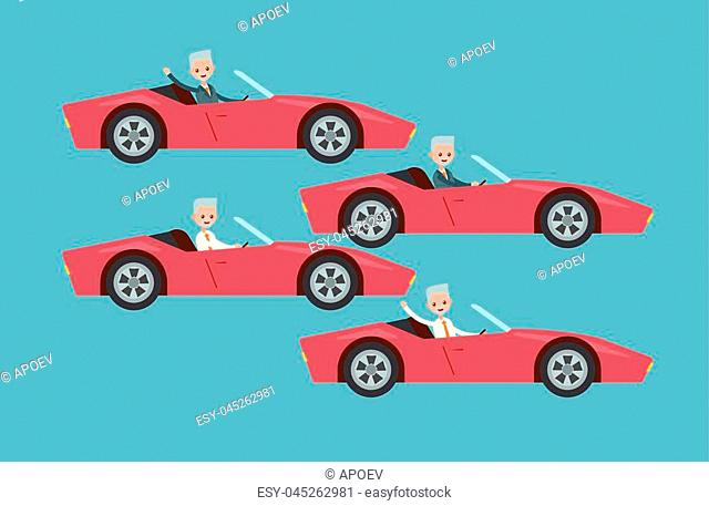 drives the car at the wheel. waving his hand in a suit and shirt. elderly businessman. cartoon character set