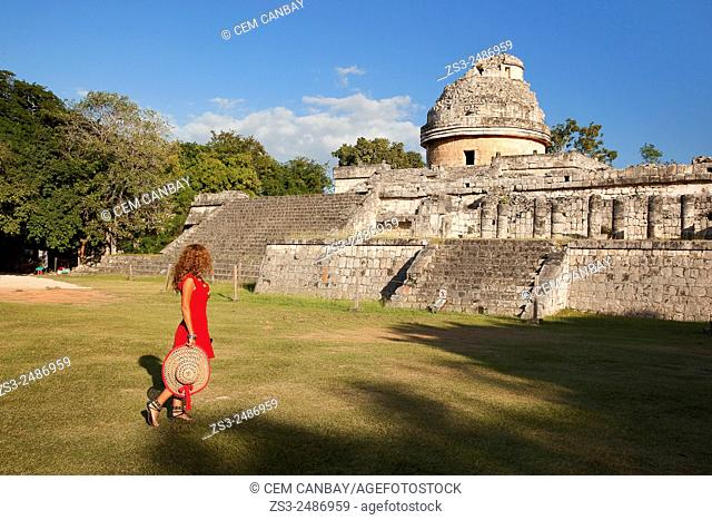 Woman posing at Chichen Itza Ruins, Chichen Itza, Yucatan Province, Mexico, Central America