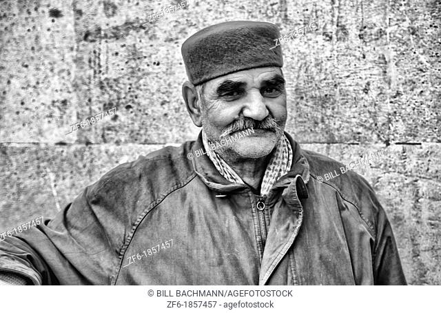 Old Muslim man in the Medina area of Tunis Tunisia in Northern Africa
