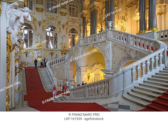 Main staircase in the Hermitage in the Winter Palace, Jordan Staircase, Saint Petersburg, Russia