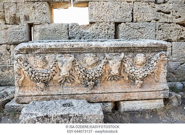 Marble relief at Uzuncaburc Ancient city located in Uzuncaburc,Silifke,Mersin,Turkey